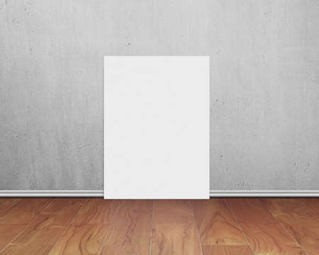 blank white board with gray concrete wall on wooden floor background photo
