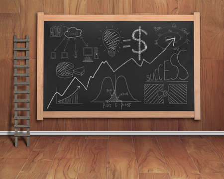 stepladder: business concept doodles drawn on black chalkboard with wooden stepladder, teak wooden wall and floor background