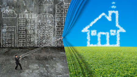 businessman pull house shape cloud curtain covered old dirty cityscape doodles concrete wall background