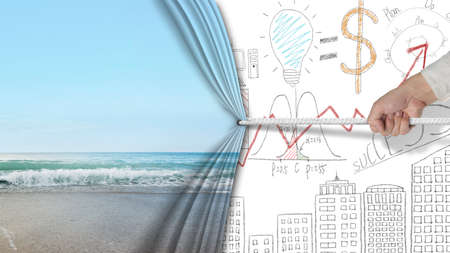liberate: hand pulling natural sandy beach curtain covered business chart doodles background, free time concept Stock Photo