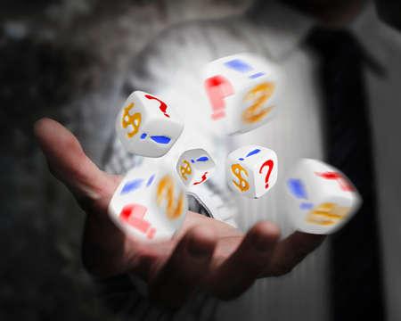 point exclamation: groupe de d�s �mis par la main d'affaires avec le signe dollar, point d'exclamation, d'interrogation Banque d'images