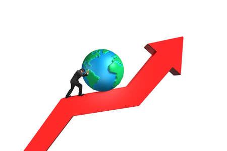 upward struggle: businessman push 3d globe upward on red trend line with white background