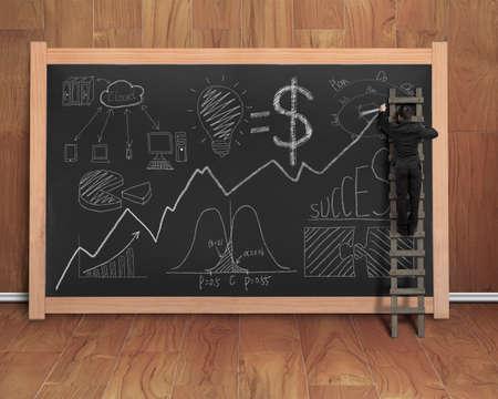 teak: businessman drawing business concept doodles on black chalkboard with wooden stepladder, teak wooden wall and floor background