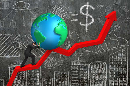upward struggle: businessman pushing 3d globe at starting point of red trend chart with  business concept doodles concrete wall background Stock Photo