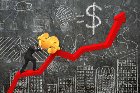 upward struggle: businessman pushing 3D dollar sign at starting point of red trend chart with business concept doodles concrete wall background