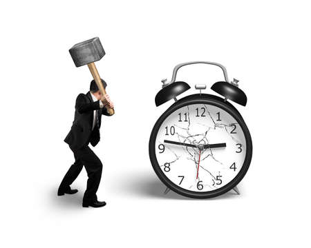 businessman hand holding sledgehammer hitting alarm clock with broken glass isolated on white background