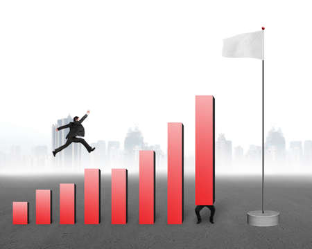 Businessman jumping over bar charts to blank flag with gray cityscape background photo