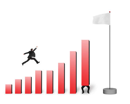 Businessman jumping over bar charts to blank flag isolated on white background photo