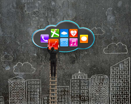 climbing businessman get app icon from black cloud with sky buildings doodles wall background photo