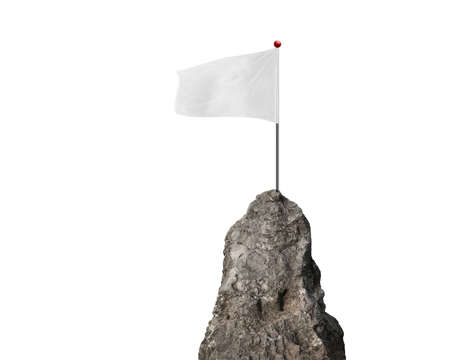 cliff edge: blank flag with the mountain peak isolated on white background