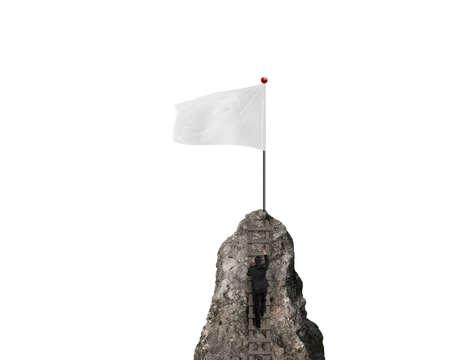 bandera blanca: hombre de negocios de escalada en el pico con la bandera en blanco y el fondo blanco Foto de archivo