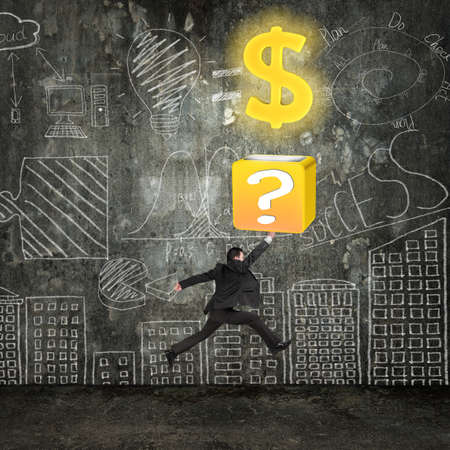 Businessman hit question mark box opening glowing golden dollar sign with business concept doodles wall photo