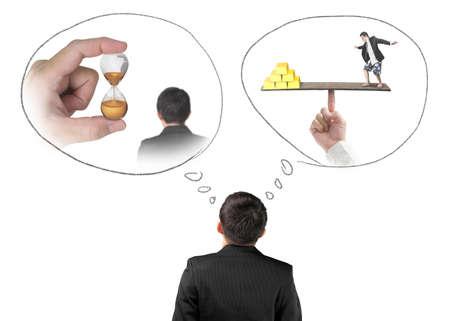 imagining: Businessman imagining work situation isolated on white background Stock Photo