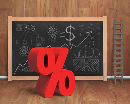 probability: Red percentage sign with business concept doodles on blackboard in wooden room background Stock Photo