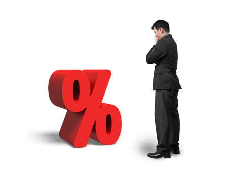 probability: Thinking salesman looking at red percentage sign isolated on white background