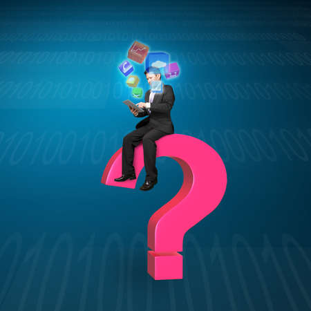Businessman using tablet sitting on pink question mark with app icons and tech background photo