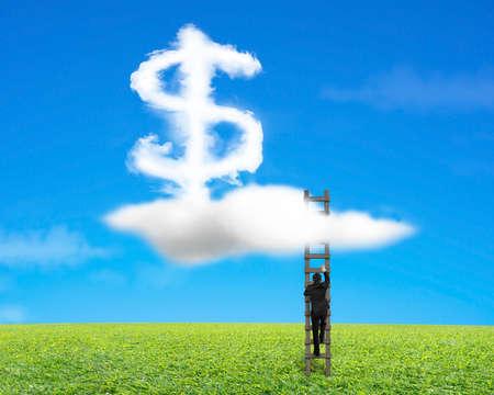 upward struggle: Businessman climbing wood ladder with dollar sign shape cloud on sky grass background Stock Photo