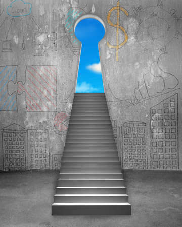 concrete stairs: Key shape door on business doodles wall with concrete stairs and blue sky view