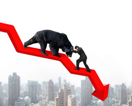 oso negro: El hombre de negocios contra el oso negro en la l�nea de tendencia roja flecha hacia abajo con el fondo paisaje urbano cielo. Luchar concepto de mercado bajista.
