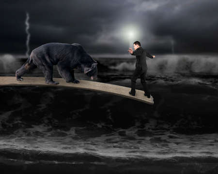 roaring sea: Businessman against black bear balancing on wooden board with dark stormy ocean background