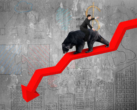 bearish market: Businessman riding black bear on red arrow downward trend line with business doodles concrete wall background. Fight back bearish market concept. Stock Photo