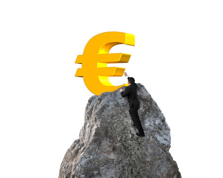 wanting: Businessman hand wanting for gold euro symbol on mountain peak with white background Stock Photo