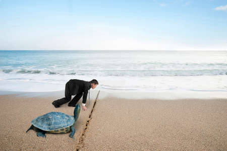 Businessman and turtle are ready to race on sand beach with natural sea background. Turtle race competing metaphor concept.