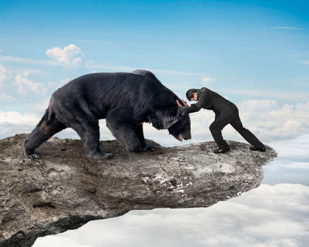 animal fight: Businessman fighting against black bear on cliff with sky cloudscape background Stock Photo