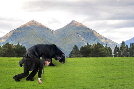 run faster: Businessman and black bear are ready to race on grass with natural mountains trees landscape background.