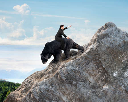 Businessman riding black bear climbing on mountain peak with sky clouds background