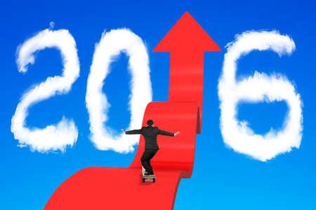 upward: Skateboarding businessman balancing on red arrow upward path with 2016 shape clouds and blue sky background