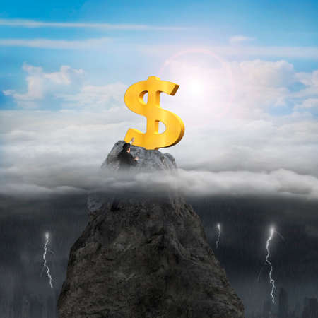 wanting: Businessman hand wanting for golden dollar sign on mountain peak high in the sky with opposite weather conditions background, sunny sky cloudscape, dark overcast lightning raining cityscape