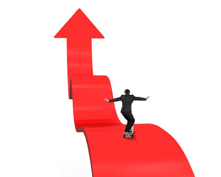 Businessman skateboarding on red arrow pointing up with white background photo