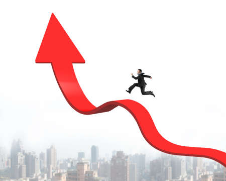 upward struggle: Businessman running on red arrow up bending trend line with cityscape skyline background