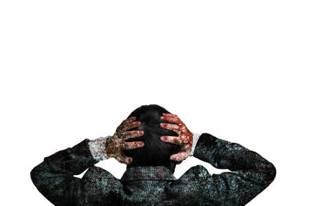 vexation: Rear view businessman hands holding his head with dirty body isolated on white background