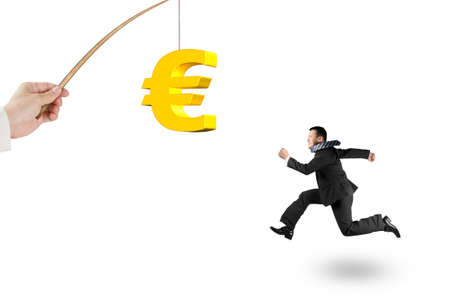 enticement: Man running after 3D golden euro symbol bait on fishing rod hand holding isolated on white background