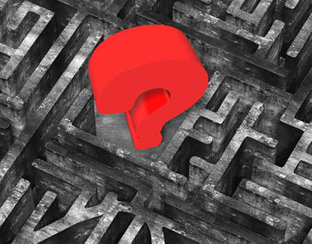 old mark: Huge 3D red question mark in center of maze old mottled concrete texture