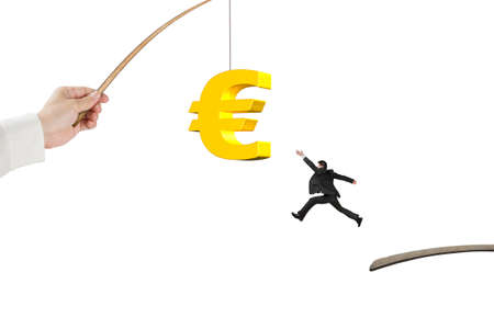 control fraud: Man jumping for 3D golden euro symbol bait on fishing rod hand holding isolated on white background Stock Photo