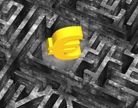mottled: 3D gold euro symbol in center of maze with old mottled concrete textured