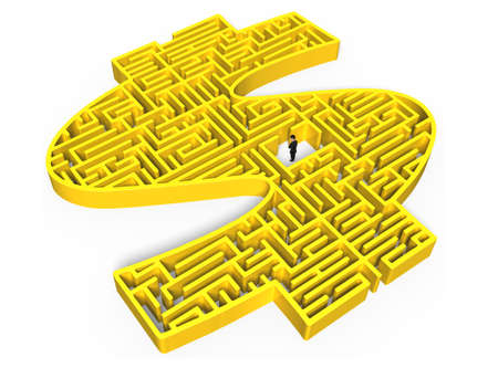 direction sign: Yellow 3D money shape maze with business man in center Stock Photo