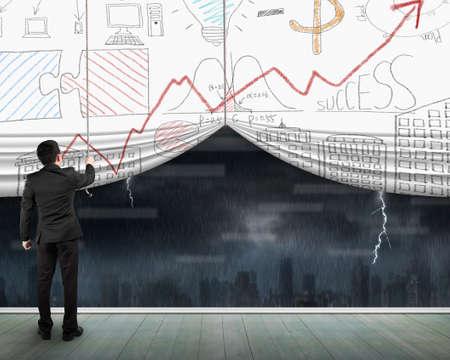 heavy rain: Man pulling open business concept doodles curtain with heavy rain dark cityscape window view on wooden floor