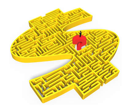 Man standing on top of huge bright red question mark, in the center of yellow 3D money shape maze isolated on white background. photo