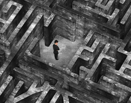 Thinking businessman standing in the center of 3D old mottled concrete maze