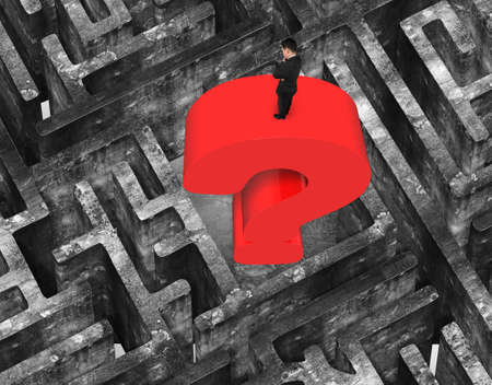old mark: Man standing on top of huge 3D red question mark in center of maze with old mottled concrete texture