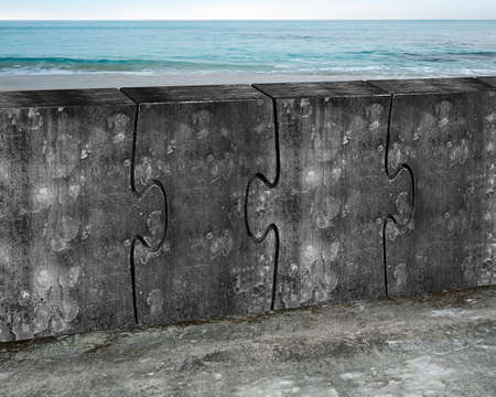 merger: Four huge concrete puzzles connected together with sea beach background
