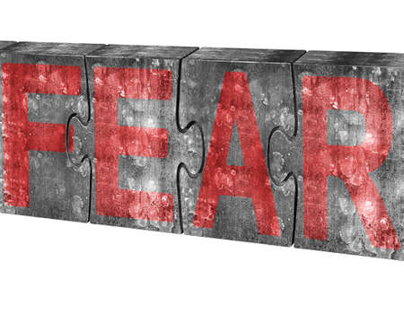 no fear: Red fear word on four huge concrete puzzles connected together, isolated on white background Stock Photo