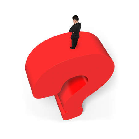 Man standing on top of huge 3D red question mark isolated on white background photo