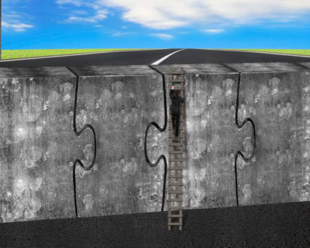 Man climbing ladder on four huge puzzles connected concrete wall, with sky clouds background