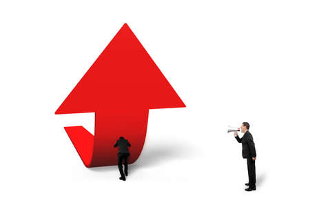 upward struggle: Boss using speaker yelling at staff pushing red trend 3D arrow upward, isolated on white background
