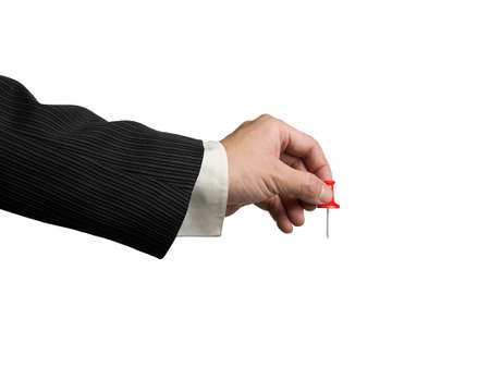 copy sapce: Male hand holding red pushpin isolated on white background Stock Photo